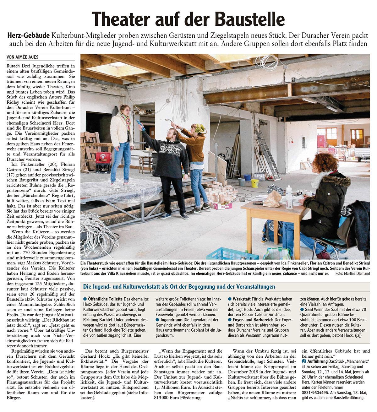 Theater auf der Baustelle: Kulterbunt-Mitglieder proben
