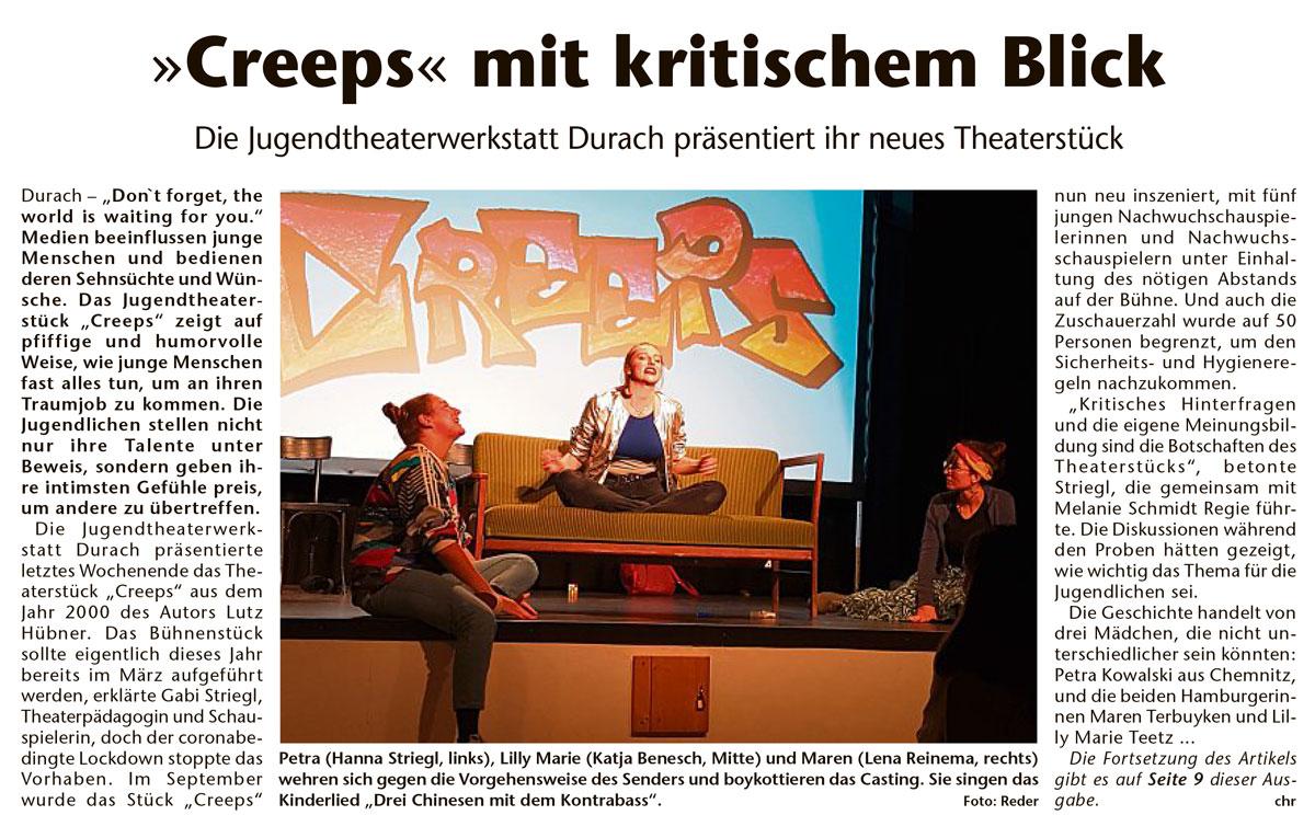 """Die Jugendtheaterwerkstatt Durach präsentiert ihr neues Stück """"Creeps"""""""